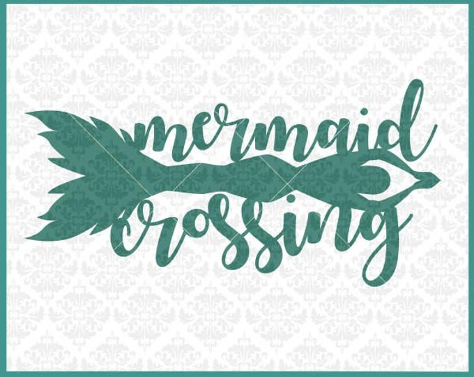 CLN0356 Mermaid Crossing Room Sign Mermaids Nautical Swim SVG DXF Ai Eps PNG Vector Instant Download Commercial Cut File Cricut Silhouette