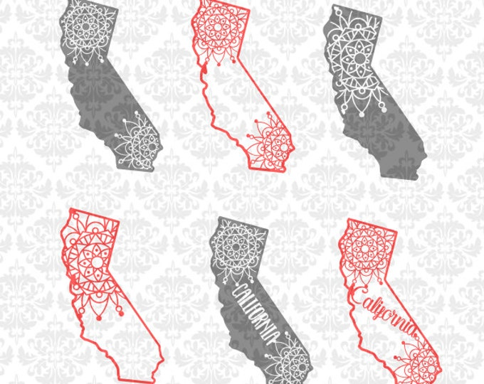 California Mandala Henna Zentangle Filigree Lace SVG DXF Ai Eps PNG Scalable Vector Instant Download Commercial Cut File Cricut Silhouette