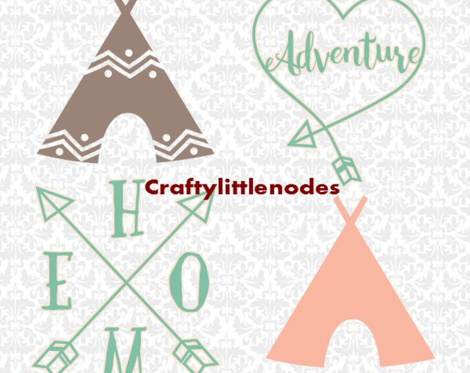 TeePee Camping Adventure Arrow SVG file Ai EPS Scalable Vector Instant Download Commercial Use Cutting FIle Cricut Silhouette
