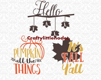 It's Fall Ya'll Pumpkin All The Things Hello Fall Leaves SVG STUDIO Ai EPS Scalable Vector Instant Download Commercial use Cutting File