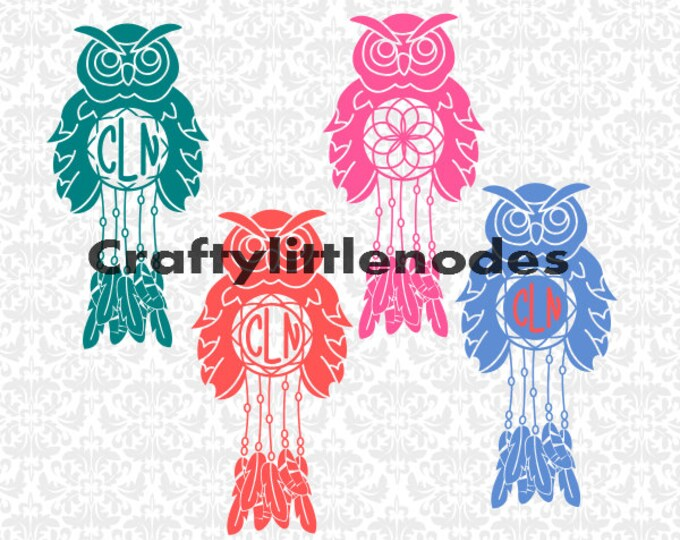 Owl Monogram Dreamcatchers SVG STUDIO Ai EPS Scalable Vector Instant Download Commercial Use Cutting File Cricut Explore SIlhouette Cameo