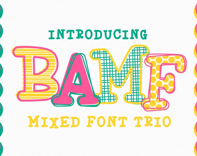 OTF, TTF, font, Hand Drawn, Layered, Alphabet, Design, SVG, Bamf, Typeface, Layerable, Outline, Scribble, Patterned, Hand Lettered, Monogram