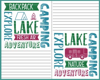 CLN0533 Word Square Camping Camper Adventure Block Explore SVG DXF Ai Eps PNg Vector Instant Download Commercial Cut File Cricut SIlhouette