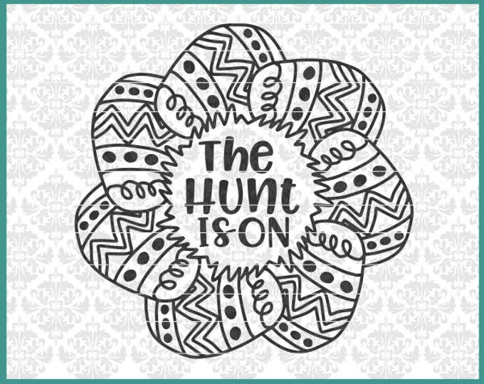 CLN0461 The Hunt Is On Easter Egg Mandala Bunny Kid's Shirt SVG DXF Ai Eps PNG Vector Instant Download Commercial Cut FIle Cricut SIlhouette