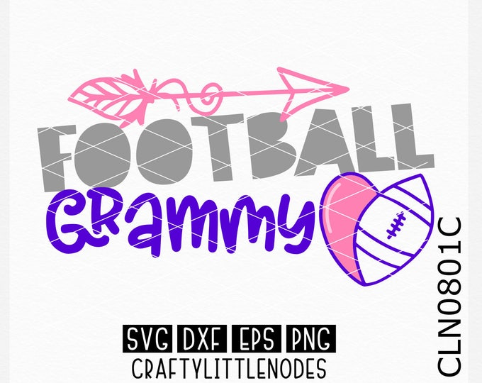 CLN0801C Football Grammy Grandmother Sports Team Heart Ball SVG DXF Ai EPs PNG Vector Instant Download Commercial Cut File Cricut Silhouette