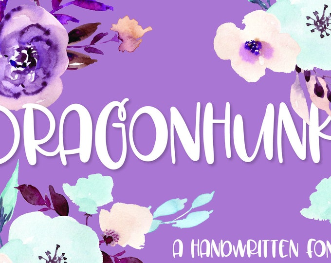 Dragonhunk - A Handwritten Font Perfect for Craft Machines Like Cricut & Silhouette - Hand lettered - Handwriting, chunky, short, sans serif