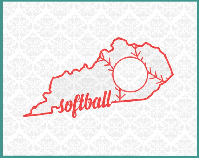 CLN0140 Kentucky Baseball Softball Fast Pitch Monogram Outline SVG DXF Ai Eps PNG Vector Instant Download Commercial Use Cricut Silhouette