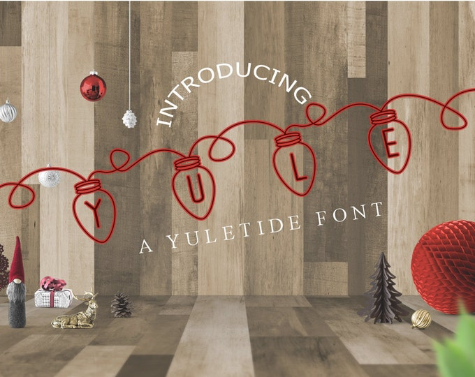 Yule Christmas Lights Font Dingbats Display Fonts OTF SVG Typeface font family script font bundle cheap affordable sale clearance sans serif