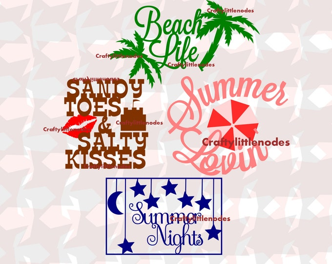 Beach Quotes SVG STUDIO Ai EPS Summer Set Cutting File Instant Download Summer Lovin Beach Life Summer NIghts Sandy Toes Salty Kisses