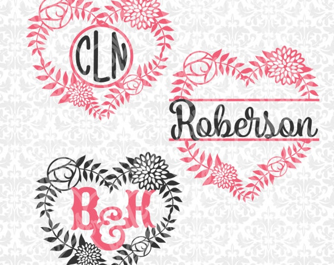 Flower Valentines Heart Couple Split Intricate SVG STUDIO Ai EPS scalable vector instant download commercial cutting file cricut silhouette