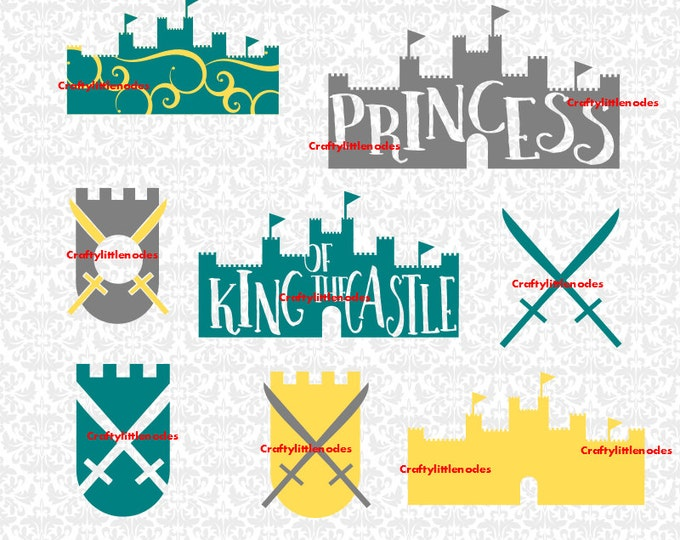 King Castle Princess Swords Midevil Swirl Queen Prince Children Monogram SVG file Ai EPS Instant Downloads Commercial Cricut Silhouette