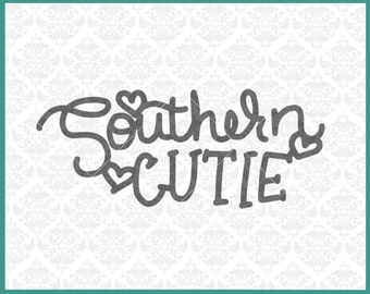 CLN0294 Southern Cutie Hearts Valentine Kid's Infant Shirt SVG DXF Ai Eps PNG Vector INstant Download Commercial Cut File Cricut Silhouette