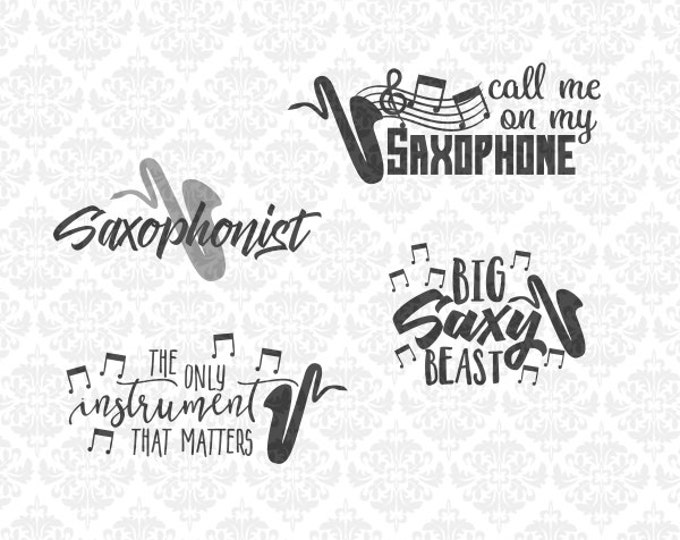 Saxophone Marching Band Instrument SVG DXF STUDIO Ai Eps Png Scalable Vector Instant Download Commercial Use Cutting File Cricut Silhouette