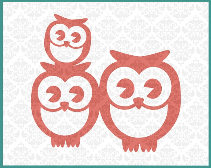 CLN0136 Owl Family 1 Kid Couple Mommy Daddy Baby Mother Father SVG DXF Ai Eps PNG Vector Instant Download Commercial Use Cricut Silhouette