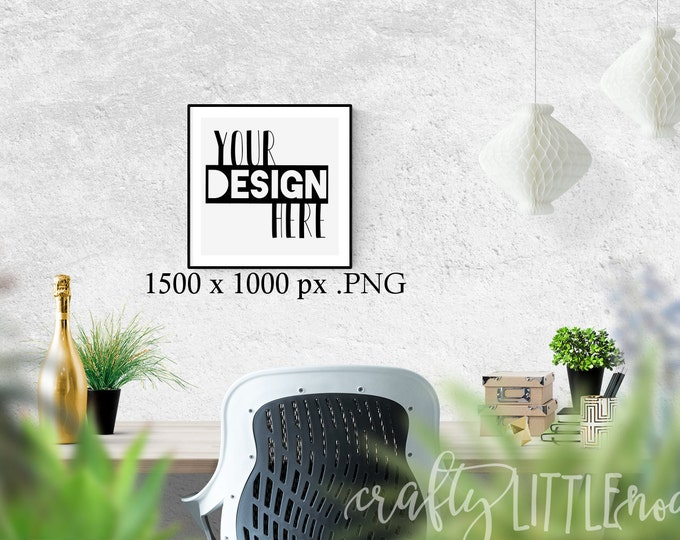Mockup 12 x 12 Empty Frame Template For Printables SVG Blank Commercial Use PNG Stylized Photo Photography Plants Stock Photo Desktop Desk