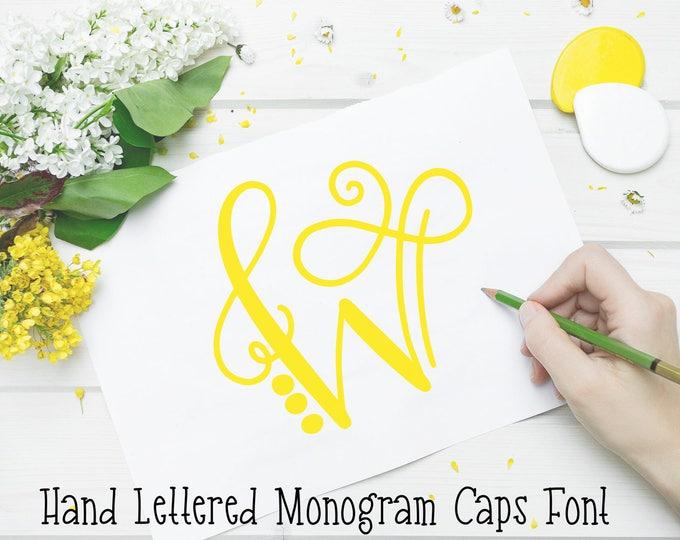 Monogram Font, hand Drawn Monogram, Hand Lettered Monogram Caps Font, Initial font, Capital font, Wedding Font, Cricut Font, Silhouette font