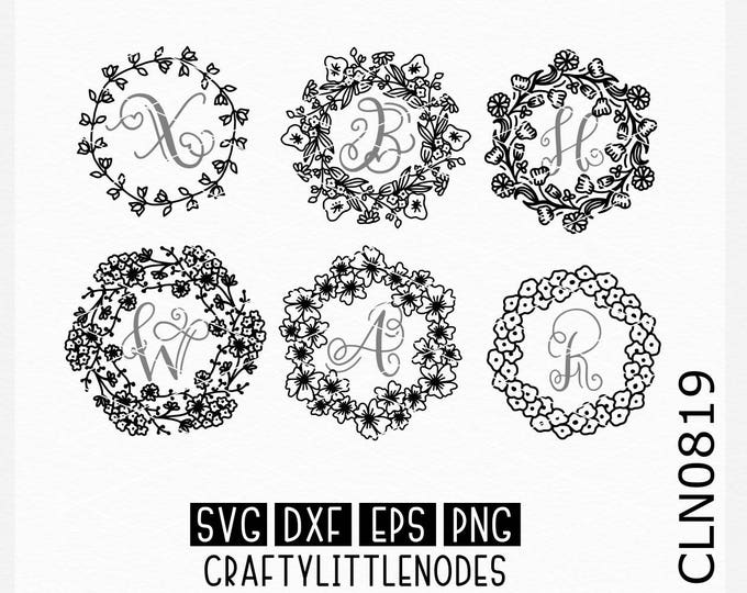 Floral Wreath Svg, Flower Circle svg, Sunflower svg, Daisy svg, Flower Monogram svg, Leafy Monogram svg, Monogram svg, Cricut, Silhouette