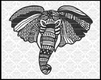 CLN0686 Elephant Patterned Hand Drawn Zentangle Mandala SVG DXF Ai Eps PNG Vector Instant Download COmmercial Cut File Cricut Silhouette