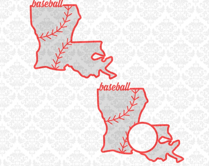 Louisiana Baseball Laces Monogram Southern Outline SVG STUDIO Ai EPS Scalable Vector Instant Download Commercial Use Cricut Silhouette