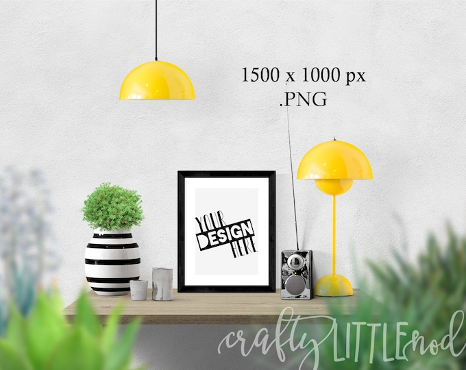 Black Frame Mockup Yellow Style Styled Stock Photography Blank Frame Black Wall Decal Blank Picture SVG Blanks PNG Printable Mockups