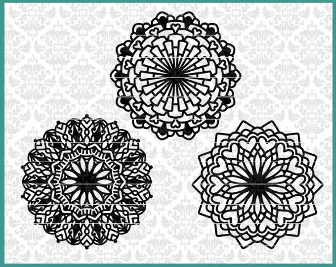 CLN0525 Mandala Mini Bundle Hearts Intricate Zen Boho SVG DXF Ai Eps PNG Vector Instant Download Commercial Cut File Cricut Silhouette
