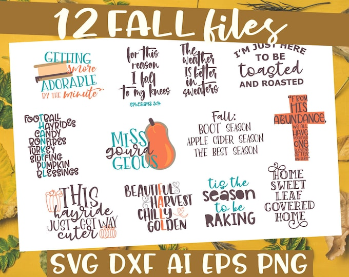 BUNDLE, Fall, Autumn, SVG, Cutting, File, Cricut, Silhouette, Christian, Bible, Child, Collection, DXF, Ai, Eps, Png, Smores, Camping