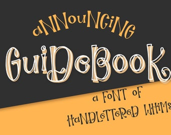 Font Guidebook Hand Lettered Outline OTF TTF Instant Download Type Handwriting Handwritten Alphabet Cricut SIlhouette Craft Fonts