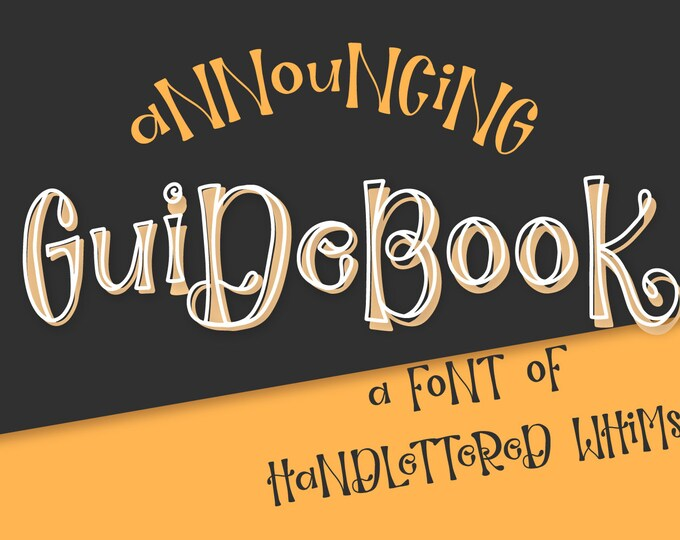 Font Guidebook Hand Lettered Outline OTF TTF Instant Download Type Handwriting Handwritten Alphabet Cricut SIlhouette Craft Fonts