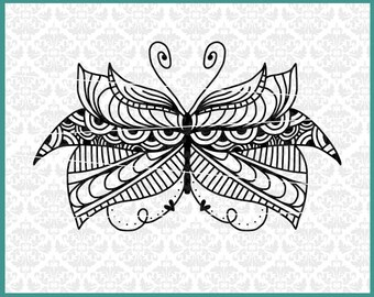 CLN0436 Hand Drawn Zentangle Mandala Butterfly Intricate SVG DXF Ai Eps PNG Vector Instant Download Commercial Cut File Cricut Silhouette