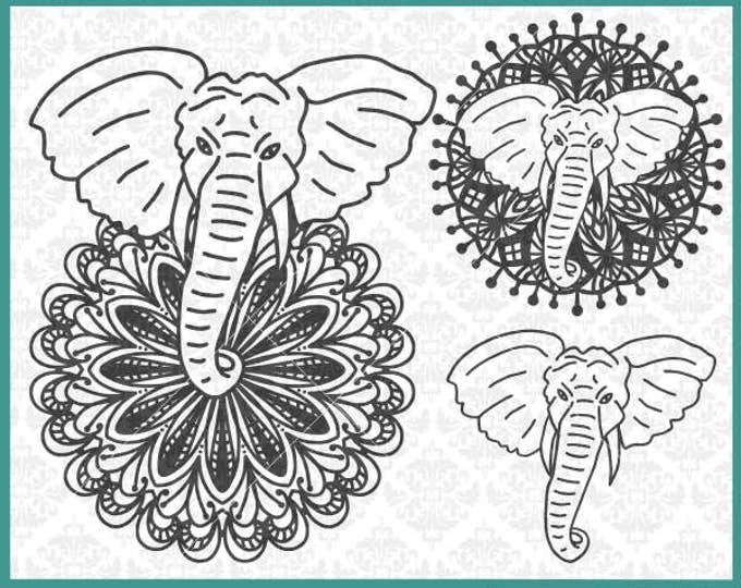 CLN0363 Elephant Mandala Boho Hand Drawn Zentangle Filigree SVG DXF Ai Eps PNG Vector Instant Download Commercial Cut File Cricut Silhouette