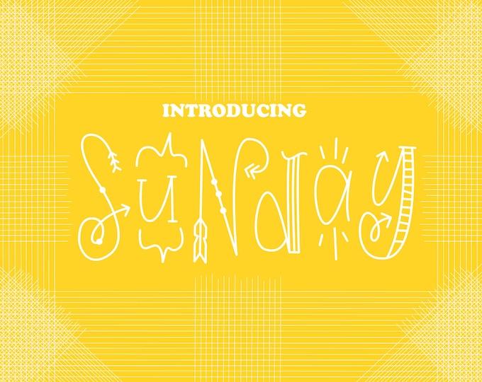 Font, Otf, Ttf, Woff, Sunday, Silly, Hand Drawn, Hand Lettered, Font Design, Funny, Random, Monogram Font, Monograms, Etsy Fonts, Typeface