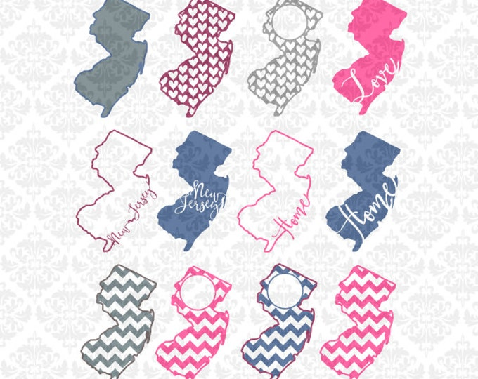New Jersey State Chevron Home Outline Love Hearts SVG DXF Ai Eps PNG Scalable Vector Instant Download Commercial Cut File Cricut Silhouette