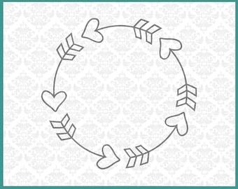 CLN050 Heart Circle Monogram Arrow Boho Initials Arrows SVG DXF Ai Eps PNG Vector Instant Download Commercial Cut File Cricut Silhouette