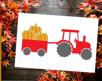 Tractor With Pumpkins In Wagon SVG Cutting File Cricut Silhouette Fall Sign Autumn Quote Word art Vector DXF Ai Eps PNG Instant