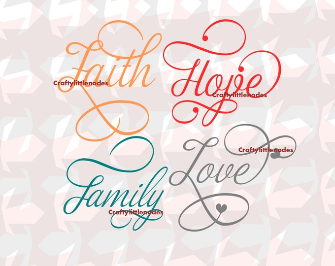 Faith svg, hope svg, love svg, family svg, Bundle, Script, Glass Block svgs, Svg Cutting, cricut, Silhouette, Cutting Files, Commercial Use