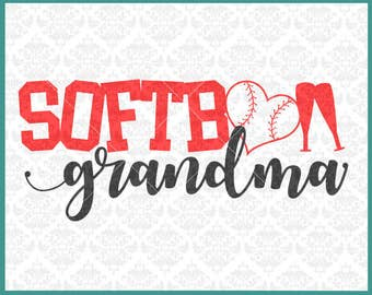 CLN0350 Softball Grandma MiMi MawMaw Family Parents Shirt SVG DXF Ai Eps PNG Vector INstant Download Commercial Cut File Cricut Silhouette