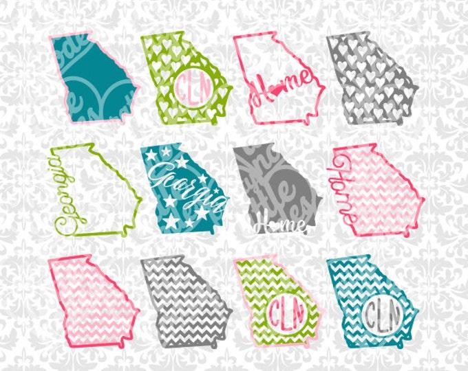Georgia svg, Georgia state svg, georgia outline svg, georgia chevron svg, Georgia Monogram svg, Georgia Home svg, Cricut, Silhouette