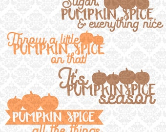 Pumpkin Spice Bundle Coffee Fall Autumn Leave October Pumpkins SVG DXF Ai Eps PNG Vector Instant Download Commercial Cut Cricut Silhouette