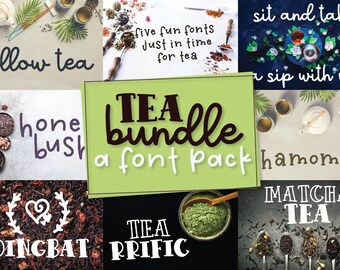 Font Tea Bundle - A Font Bundle 5 Pack Full Of Varie-Tea! Script, Sans Serif, Dingbat, Serif, Display! Hand Lettered Cricut Silhouette Cut