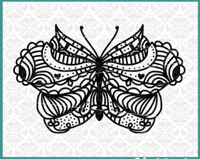 CLN0419 Hand Drawn Zentangle Mandala Butterfly Intricate SVG DXF Ai Eps PNG Vector Instant Download Commercial Cut File Cricut Silhouette