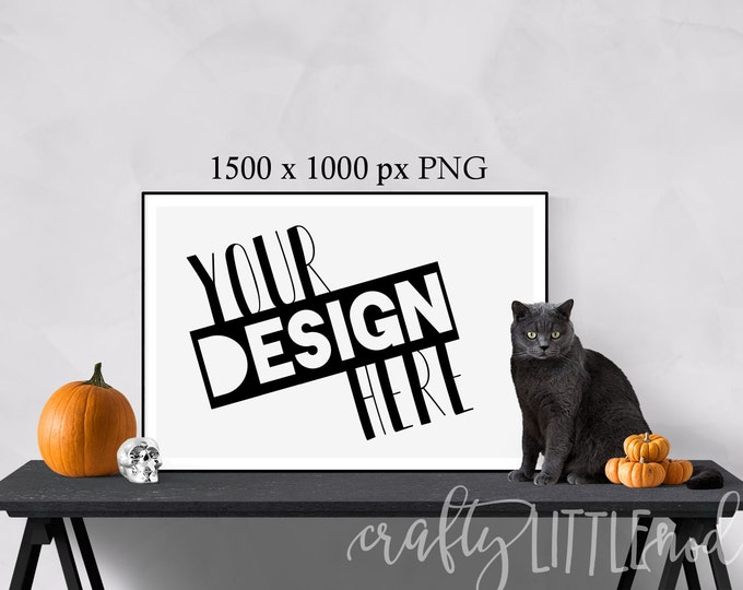 Mockup Mockups Halloween Cat Pumpkin Wall Frame Print Large Stylized Picture PNG Styled Stock Photo Set Skull Design Blank Canvas Frame Wall