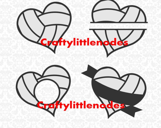 Volleyball Heart Monogram Split Set SVG file Ai EPS Scalable Vector Instant Download Commercial Use Cutting File Cricut Silhouette