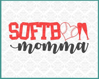CLN0247 Softball Momma Mom Mother Soft Ball Play Game Heart SVG DXF Ai Eps PNG Vector Instant Download Commercial Cut File Cricut Silhouette