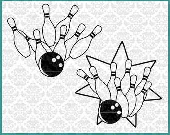 CLN0523 Bowling Team Strike Clipart Pins Bowler Ball Turkey SVG DXF Ai Eps PNG Vector Instant Download Commercial Cut File Cricut Silhouette
