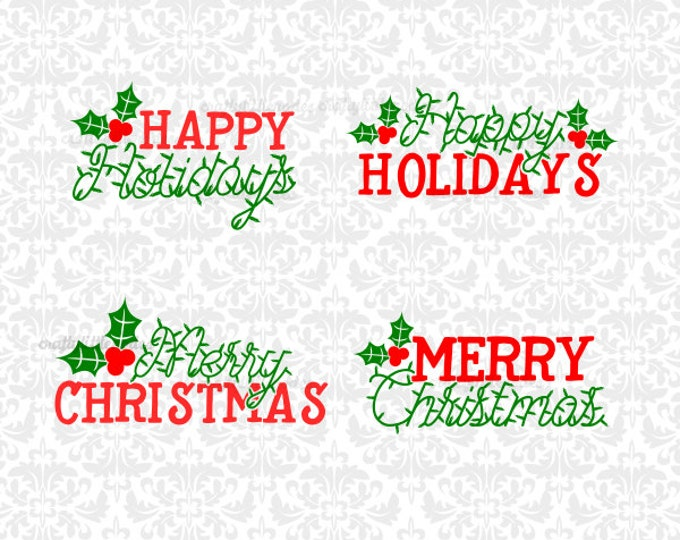 Happy Holidays Merry Christmas Mistletoe Lights String SVG file Ai EPS Scalable Vector Instant Download Commercial Use Cricut Silhouette
