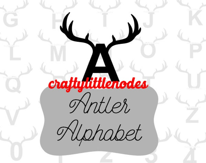 Alphabet & Numbers with Antlers Deer Hunter Man Cave SVG STUDIO Ai EPS Vector Instant Download Commercial use Cutting File Cricut silhouette