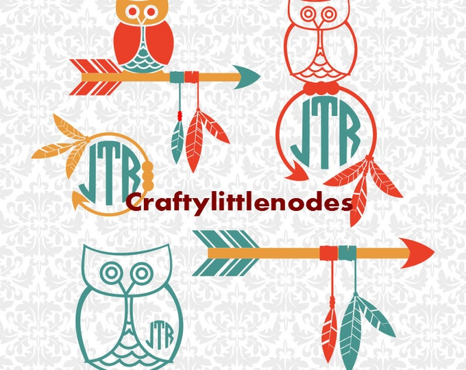 Owls Feathers Arrow Monogram Set SVG STUDIO Ai EPS Scalable Vector Instant Download Commercial Use CUtting FIle Cricut Silhouette
