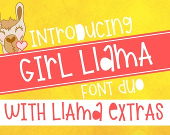 Font, Girl Llama, Hand Lettered, Silly, Sans Serif, Duo, Bundle, Llamas, Llama, Commercial Use, Filled In, Shirt Design, Hand Drawn, Extras