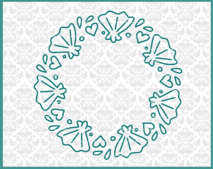 CLN0632 Shell Sea Beach Mandala Monogram Hand Drawn Circle SVG DXF Ai Eps PNG Vector Instant Download Commercial Cut File Cricut Silhouette