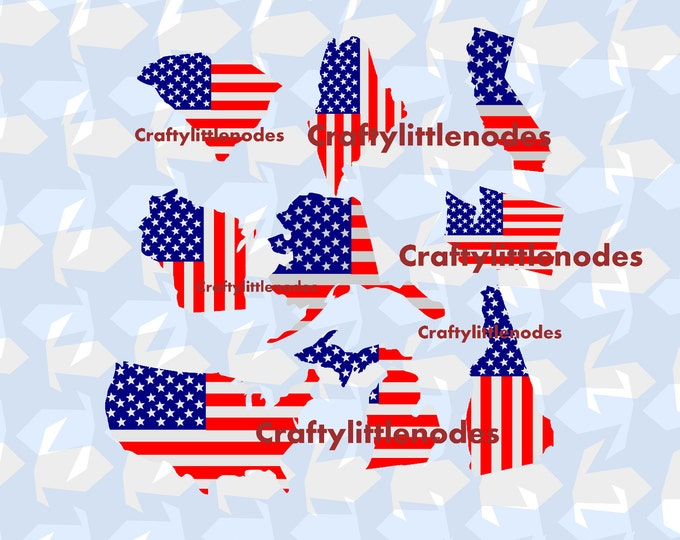 51 State Shaped American Flags Independence Day Memorial Day Patriotic SVG file Ai EPS Scalable Vector Instant Download Cutting File